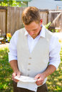 Groom Reading Vows for Wedding Royalty Free Stock Photo