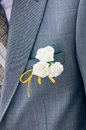 Groom s flower close up shot of white on an elegant grey suit Royalty Free Stock Photos