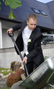 Groom with shovel Royalty Free Stock Photo