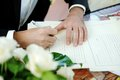 Groom signing marriage license or wedding contract Royalty Free Stock Images