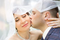 Groom in white shirt kissing bride hand. Very gentle photo Royalty Free Stock Photo