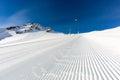 Groomed ski run at ski resort Royalty Free Stock Photo