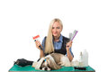 Groomer with combs and cute shih-tzu dog Royalty Free Stock Photo
