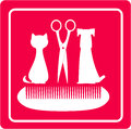 Grooming barbershop for pet with dog cat scissors and comb Stock Photos