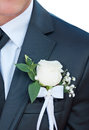 Groomsmen close up in black wedding suits wearing rose boutonnieres Royalty Free Stock Photography
