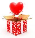 Groot hart dat uit van doos vliegt Royalty-vrije Stock Foto