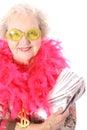 Grootmoeder die lotto won Royalty-vrije Stock Foto