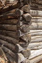 Grooved logs interlocking detail old home Royalty Free Stock Photos