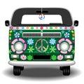 Hippie Groovy Van Bus Peace and Love Retro Vehicle Vector Illustration