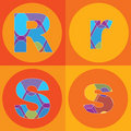 Groovy lines ALPHABETS quads Stock Photo