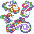 Groovy Notebook Doodle Design Elements Vector Royalty Free Stock Photo