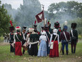Grossbeeren polnische flagge teltow flaming brandenburg germany august reenactment of the historical battle against the french Stock Photography