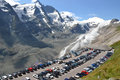 Grossglockner car park august overlooking the pasterze glacier and the austria on august the glacier has decreased Royalty Free Stock Images