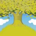 Grote eiken boom op de heuvel Royalty-vrije Stock Afbeeldingen