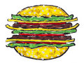 Grote geïsoleerdes hamburgersandwich Stock Fotografie