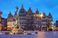 Grote markt antwerp belgium a series of guildhouses in big market square in the old town of at twilight Stock Images