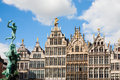 Grote markt antwerp guildhouses in with the statue of brabo and the giant s hand Stock Photo