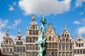 Grote markt antwerp guildhouses in with the statue of brabo and the giant s hand Royalty Free Stock Photos