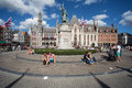 Grote markt bruges the city center square statue and historic belfry in the medieval old town of brugge belgium Royalty Free Stock Photography