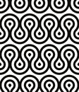 Grotesque waves seamless pattern, black and white retro style geometric vector background