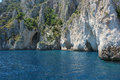 Grotto in capri with crystal blue water Royalty Free Stock Photos