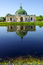 Grotto pavilion with reflection in the water park Kuskovo, Mosco Royalty Free Stock Photo