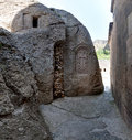 Grotto view from a in the ancient armenian temple complex geghard Stock Photography