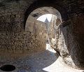 Grotto view from a in the ancient armenian temple complex geghard Royalty Free Stock Image