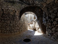 Grotto view from a in the ancient armenian temple complex geghard Stock Images