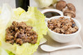 Ground chicken and mushrooms for lettuce wraps Royalty Free Stock Photo