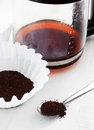 Ground coffee with coffeemaker filter and carafe Stock Images