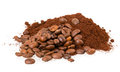 Ground coffee and grain Royalty Free Stock Photo