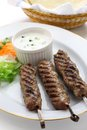 Ground lamb kebab with flat bread Stock Image