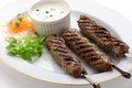 Ground lamb kebab on white background Stock Image
