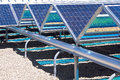 Ground level solar panels closeup of with photovoltaic grid Stock Photos