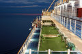 Ground for minigolf on deck of ship. Stock Image