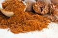 Ground nutmeg in spoon closeup Stock Photo