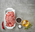 Ground pork and various spices Royalty Free Stock Photo