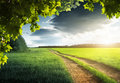Ground road and sunset Royalty Free Stock Photo