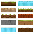 Ground slices vector set.
