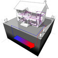 Ground source heat pump diagram of a classic colonial house with floor heating and as of energy for heating another house Royalty Free Stock Image