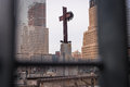 Ground zero cross steel Stock Photo