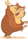 Groundhog day with smiling marmot waving hand. Cartoon vector illustration. Royalty Free Stock Photo