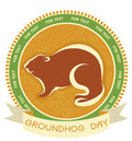 Groundhog day.Vector label Royalty Free Stock Photo
