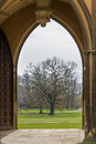 Grounds seen archway medieval college st john s cambridge university england Stock Image