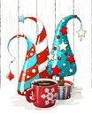 Group of abstract christmas trees and red coffee cup, holiday motive, illustration