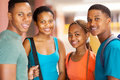 Group african college students of smiling indoors Royalty Free Stock Photos