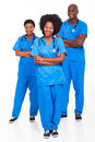 Group african hospital workers portrait white Stock Photo