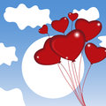 Group of air balloon in the sky. Heart on Valentine`s day. Vecto