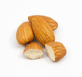 group of almonds isolated Royalty Free Stock Photo